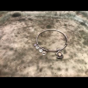 Alex and Ani silver bracelet with oyster and pearl